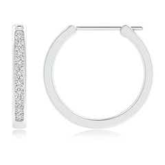Toggle Channel-Set Round Diamond Hoop Earrings
