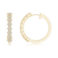 Toggle Floating Flower Diamond Cluster Hoop Earrings