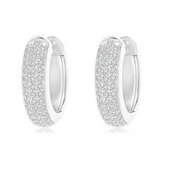 Triple-Row Diamond Studded Huggie Hoop Earrings