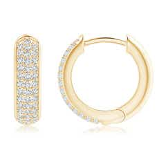 Toggle Diamond Triple-Row Huggie Hoop Earrings
