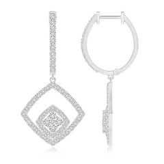 Pressure-Set Cluster Halo Diamond Cushion Dangle Earrings