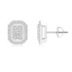 Scattered Round Diamond Composite Octagon Stud Earrings
