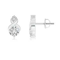 Round Diamond Two Stone Criss Cross Studs