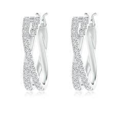 Pave-Set Round Diamond Criss Cross Hoop Earrings