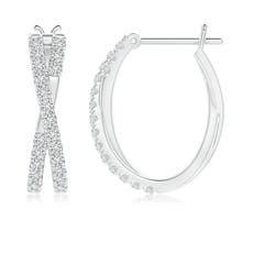 Toggle Pave-Set Round Diamond Criss Cross Hoop Earrings