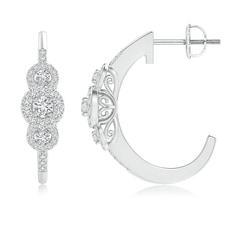Triple Round Diamond Halo J-Hoop Earrings