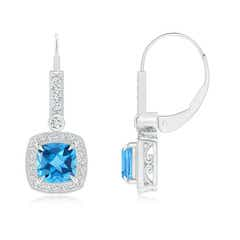 Vintage Cushion Swiss Blue Topaz Leverback Earrings with Diamond Halo