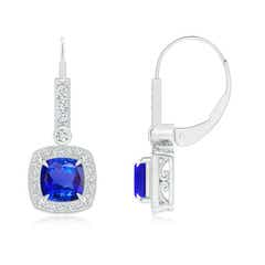 Vintage Inspired Cushion-Cut Tanzanite Leverback Earrings with Diamond Halo