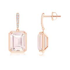 Emerald-Cut Morganite Dangle Earrings with Diamond Accents