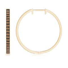 Toggle Pave-Set Coffee Diamond Hoop Earrings with Milgrain