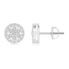 Channel-Set Diamond Flower Stud Earrings with Halo