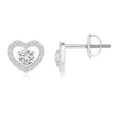 Solitaire Diamond Open Heart Stud Earrings with Accents