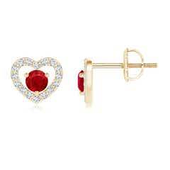Solitaire Ruby Open Heart Stud Earrings with Diamonds
