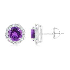 Claw-Set Amethyst and Diamond Halo Stud Earrings