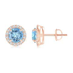 Claw-Set Aquamarine and Diamond Halo Stud Earrings