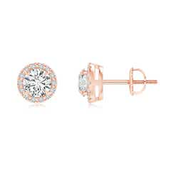 Claw-Set Diamond Halo Stud Earrings