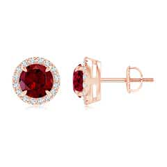 Claw-Set Garnet and Diamond Halo Stud Earrings