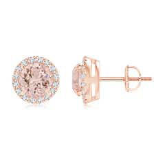 Claw-Set Morganite and Diamond Halo Stud Earrings