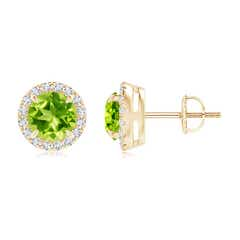 Claw-Set Peridot and Diamond Halo Stud Earrings