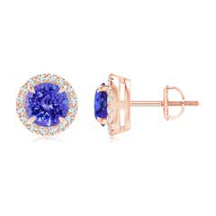 Claw-Set Tanzanite and Diamond Halo Stud Earrings