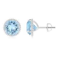Rope Framed Claw-Set Aquamarine Martini Stud Earrings