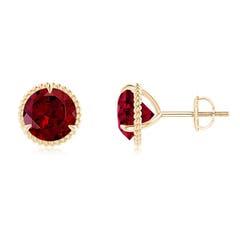 Rope Framed Claw-Set Garnet Martini Stud Earrings