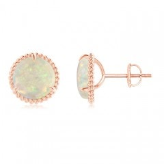Rope Framed Claw-Set Opal Martini Stud Earrings