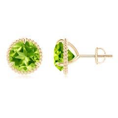 Rope Framed Claw-Set Peridot Martini Stud Earrings