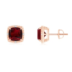 Claw-Set Cushion Garnet Beaded Halo Stud Earrings