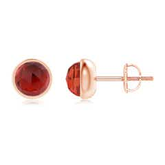 Bezel Set Garnet Solitaire Stud Earrings