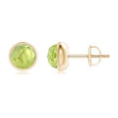 Bezel Set Peridot Solitaire Stud Earrings