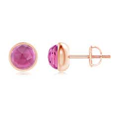 Bezel Set Pink Tourmaline Solitaire Stud Earrings