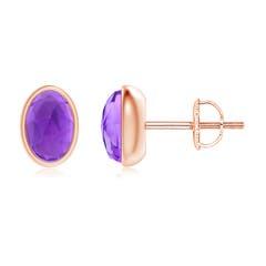 Bezel Set Oval Amethyst Solitaire Stud Earrings
