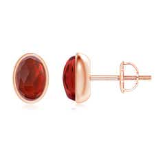 Bezel Set Oval Garnet Solitaire Stud Earrings