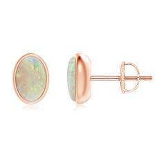Bezel Set Oval Opal Solitaire Stud Earrings