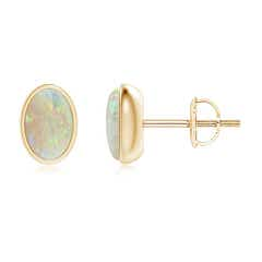 Bezel Set Oval Opal Solitaire Stud Earrings