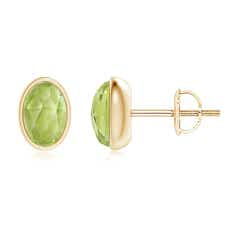 Bezel Set Oval Peridot Solitaire Stud Earrings