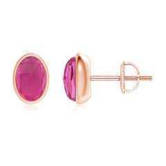 Bezel Set Oval Pink Tourmaline Solitaire Stud Earrings