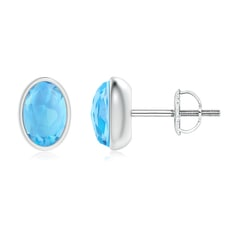Bezel Set Oval Swiss Blue Topaz Solitaire Stud Earrings