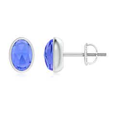Bezel Set Oval Tanzanite Solitaire Stud Earrings