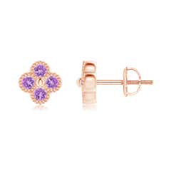 Amethyst Four Leaf Clover Stud Earrings with Beaded Edges