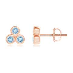 Bezel Set Aquamarine Trio Cluster Stud Earrings