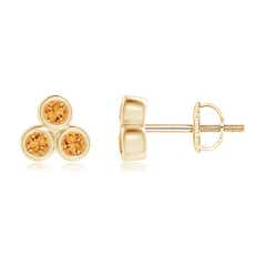 Bezel Set Citrine Trio Cluster Stud Earrings