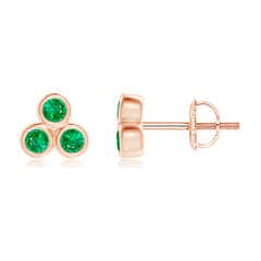 Bezel Set Emerald Trio Cluster Stud Earrings