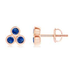 Bezel Set Sapphire Trio Cluster Stud Earrings