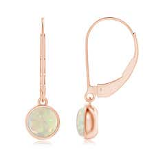 Round Opal Solitaire Drop Earrings with Leverback