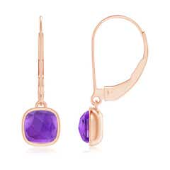 Cushion Amethyst Solitaire Drop Earrings with Leverback