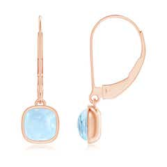 Cushion Aquamarine Solitaire Drop Earrings with Leverback