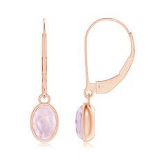 Bezel Set Oval Morganite Solitaire Drop Earrings