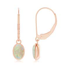 Bezel Set Oval Opal Solitaire Drop Earrings